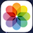 iOS 7 Photos app icon--a color wheel on a flat white background